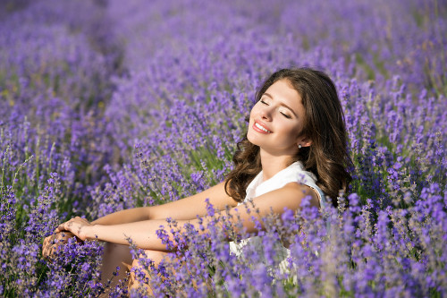 relaxed women in lavender